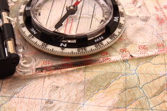 Modern Map Compass. A modern compass and map Royalty Free Stock Images