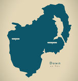 Modern Map - Down UK Northern Ireland Stock Photo