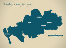 Modern Map - Dumfries and Galloway UK Scotland Royalty Free Stock Photography
