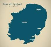 Modern Map - East of England UK Stock Photography