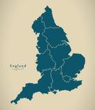 Modern Map - England with counties UK Stock Image