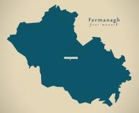 Modern Map - Fermanagh UK Northern Ireland Royalty Free Stock Photos