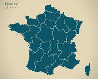 Modern Map - France with regions FR Royalty Free Stock Photography