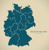Modern Map - Germany with federal states DE Royalty Free Stock Photo