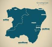 Modern Map - Grampian UK Scotland Royalty Free Stock Photos