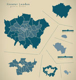 Modern Map - Greater London UK England Stock Photography