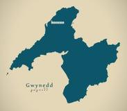 Modern Map - Gwynedd Wales UK Royalty Free Stock Photo