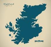 Modern Map - Highland UK Scotland Stock Photo