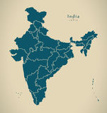 Modern Map - India with federal states illustration Royalty Free Stock Photography