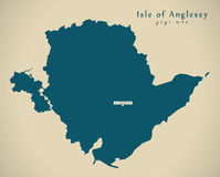Modern Map - Isle of Anglesey Wales UK Stock Photos