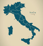Modern Map - Italy IT with regions Royalty Free Stock Photography
