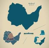 Modern Map - Kabul with districts AF. Illustration vector illustration