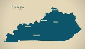 Modern Map - Kentucky USA illustration Royalty Free Stock Photos