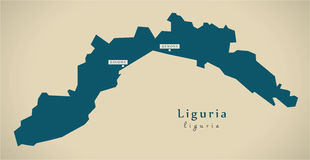 Modern Map - Liguria IT Italy Royalty Free Stock Images