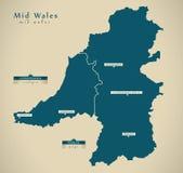Modern Map - Mid Wales UK Royalty Free Stock Image