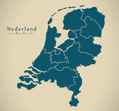 Modern Map - Netherlands with provinces NL Stock Image