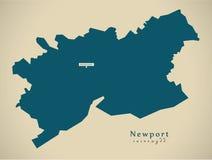 Modern Map - Newport Wales UK Royalty Free Stock Photo