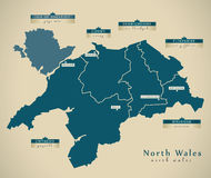 Modern Map - North Wales UK Stock Photography