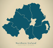 Modern Map - Northern Ireland with counties UK Stock Images