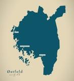Modern Map - Ostfold Norway NO Stock Photography