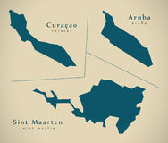 Modern Map - Overseas provinces NL. Illustration Royalty Free Stock Photos