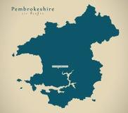 Modern Map - Pembrokeshire Wales UK Royalty Free Stock Photo