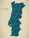 Modern Map - Portugal with districts PT Royalty Free Stock Photography