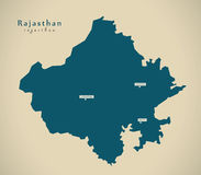 Modern Map - Rajasthan IN India federal state illustration Stock Image
