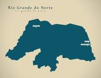 Modern Map - Rio Grande do Norte BR Brazil Stock Image