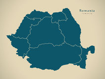 Modern Map - Romania with regions RO Royalty Free Stock Photography