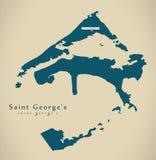 Modern Map - Saint George`s BM. Illustration Stock Photo