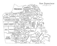Modern Map - San Francisco city of the USA. Illustration stock illustration