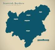 Modern Map - Scottish Borders UK Scotland Stock Images
