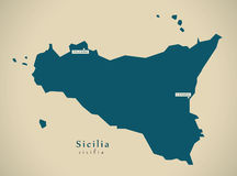 Modern Map - Sicilia IT Italy Stock Photography