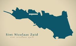 Modern Map - Sint Nicolaas Zuid AW Stock Photos