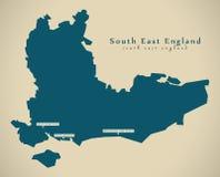 Modern Map - South East England UK Stock Image