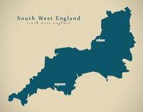 Modern Map - South West England UK Royalty Free Stock Photos