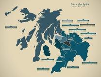 Modern Map - Strathclyde UK Scotland Stock Photos