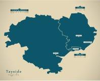 Modern Map - Tayside UK Scotland Stock Photography