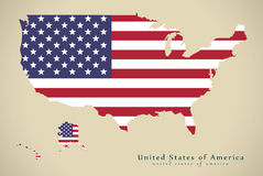 Modern Map - United States USA with flag illustration Royalty Free Stock Photos