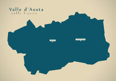 Modern Map - Valle d Aosta IT Italy Stock Image