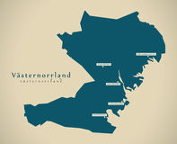 Modern Map - Vasternorrland Sweden SE Royalty Free Stock Photography