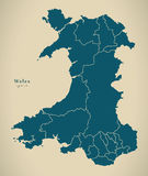 Modern Map - Wales with regions UK Stock Photography