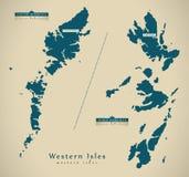 Modern Map - Western Isles UK Scotland Stock Photography