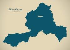 Modern Map - Wrexham Wales UK Stock Photography