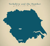 Modern Map - Yorkshire and the humber UK England Stock Image