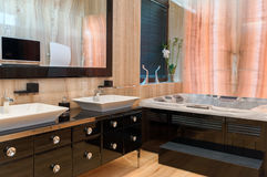 Modern marble bathroom interior. Luxurious marble interior of modern contemporary house Stock Photos