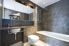 Modern Marble Bathroom With Large Bath Tub Stock Photo