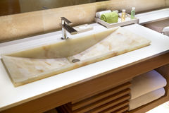 Modern Marble Handbasin In A Hotel Stock Images