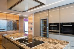 Modern marble kitchen with island stock photo